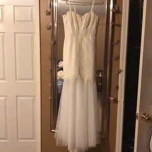 BCBG ivory lace wedding style dress.